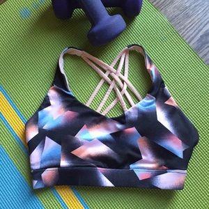 Forever 21 black/pink strapy crisscross sports bra
